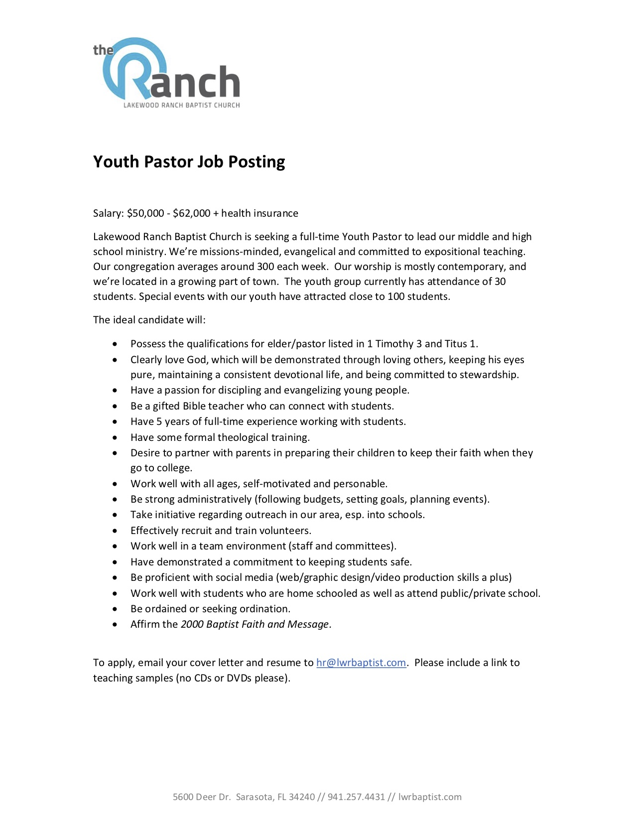 Youth Pastor Job Posting | Central Kentucky Network of Baptists